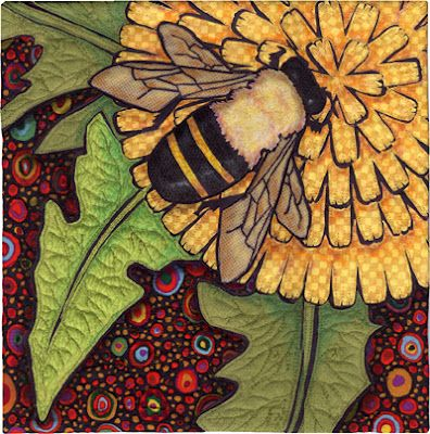 bee and dandelion quilt: Terry O'Neil, Dandelions Quilts, Terry Grant, Bees Quilts, Flowers Quilts, Art Quilts, Bees Knee, Terry Dandelions, Honey Bees