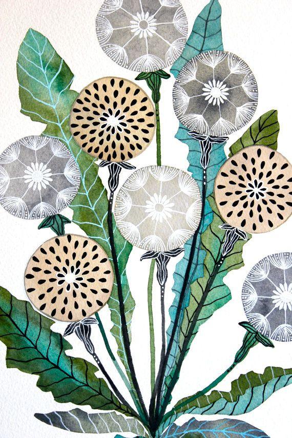 Dandelion Watercolor Painting Nature Art Large by RiverLuna