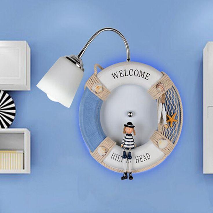 83.30$  Buy now - http://alipu0.worldwells.pw/go.php?t=32776392493 - Navy Wind Dolls Children Room Mediterranean Wall Light E27 Lamp 110V-220V Indoor Lighting Kids Bedroom Lamp Led Wall Lights