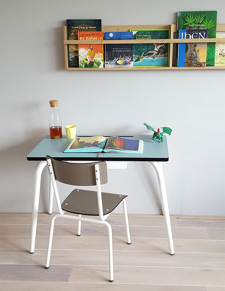 French Les Gambettes meets Scandinavian design by Foxy Potato! Vega rack full of kids books. Blue jade Romy and taupe Colette chair). On stock in shop