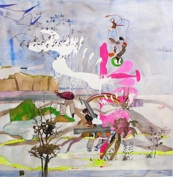 Julian Hooper, Fight  Watercolour on Paper  1200 x 1200 :2005