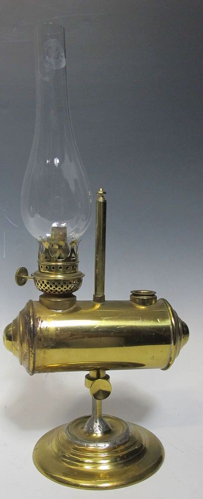 Antique Plume & Atwood P A Brass Adjustable Student Oil Lamp w/Hurricane NR yqz