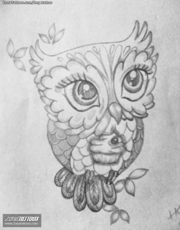 Cute Owl Tattoo Sketch