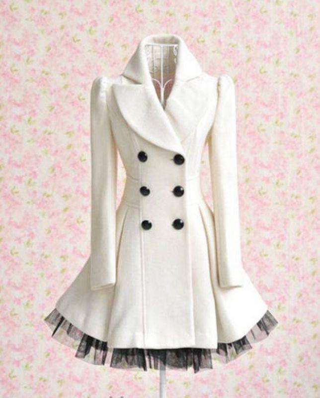 Para Mujer Lolita Cute gótico Abrigo Largo Cruzado Encaje chaqueta Princesa  Parka 9fcd8e48c998