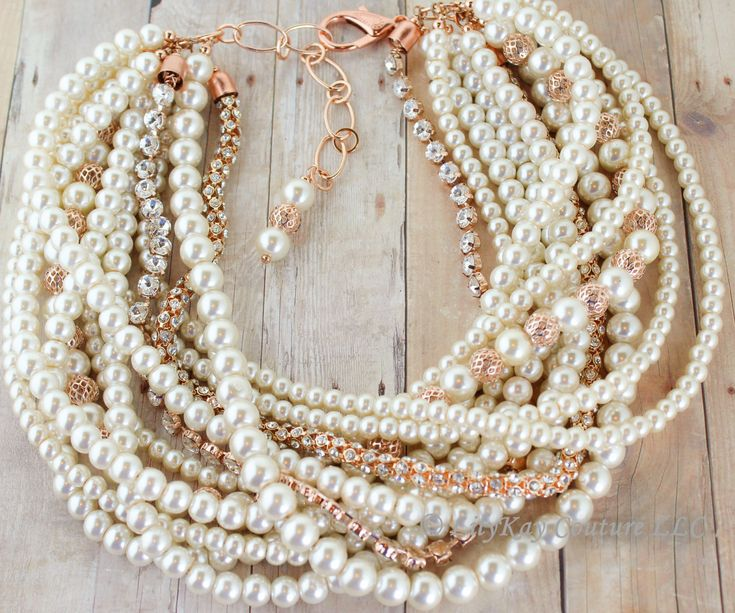 Rose Gold Necklace Bridal Necklace Chunky Pearl Bridal Necklace Bridal Statement Necklace Rose Gold Bridal Jewelry Rose Gold Bridesmaid Beth