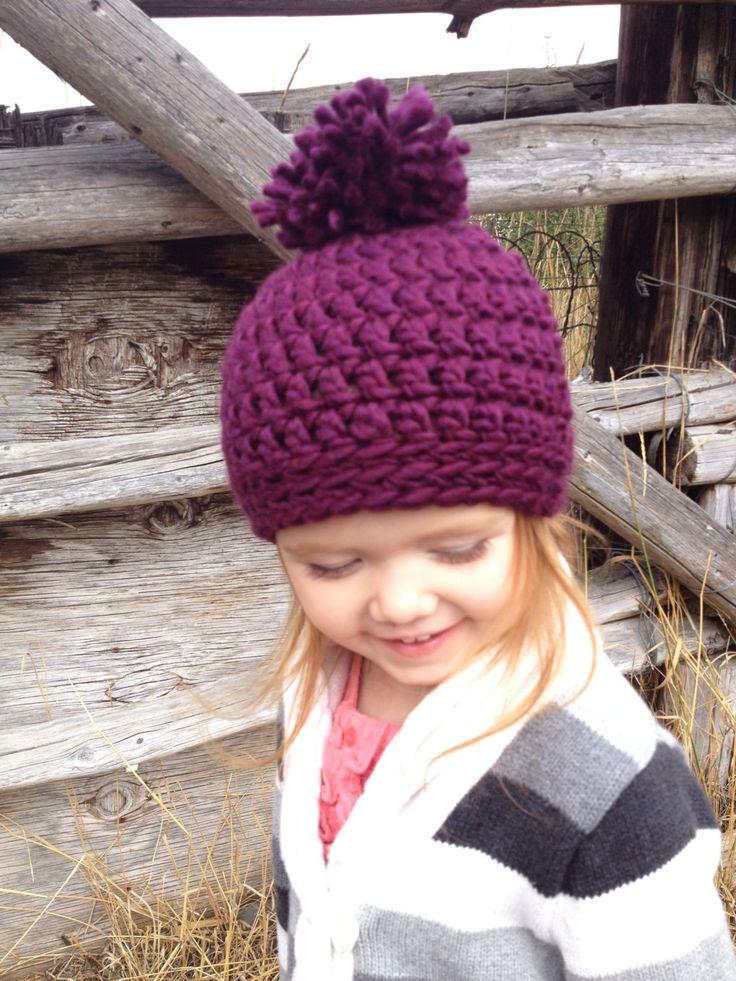 Toddler/Small Child Crochet PomPom Toque -Girls- Plum by AngiesKnottyCreation on Etsy