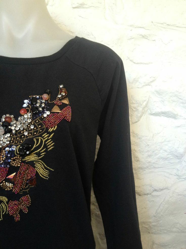 Ladies River Island Black Beaded Dragon Jumper, Size 10 - Now Selling! Click through to go to eBay auction.