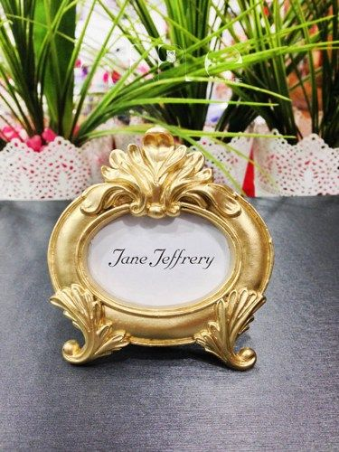 Ornate Wedding Decor Table Wedding Name Place Card Holder Frame Silver, Gold Cream Pearly Bridal Shower Gift Frame Baroque Table Name Holder