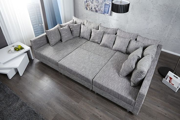 Canape d39angle modulable loft xxl gris deco pinterest for Tapis de course avec grand canape convertible