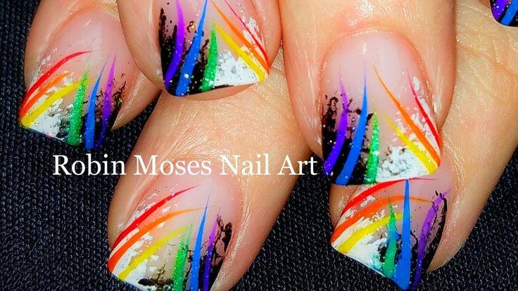 Sponge Nail Art   Beginner Technique + Rainbow stripes   DIY Nails Desig...