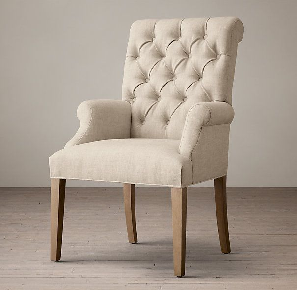 Dining Room Arm Chairs Upholstered: Bennett Roll-Back Upholstered Arm Chair