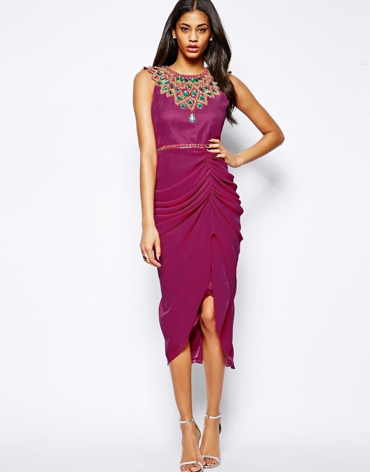 Virgos Lounge | Virgos Lounge Danica Midi Dress with Embellished Neck at ASOS