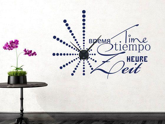 #Wandtattoo #Uhr mit #Uhrwerk #Wanduhr #Retro Zeit verschiedene Sprachen #Wohnzimmer