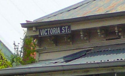 Victoria Street enamelled sign high on the front of 59 Victoria St. Flemington - Photo R Stockfeld 2012