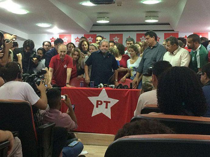 O ex-presidente Lula na sede do Partido dos Trabalhadores, no centro de São Paulo