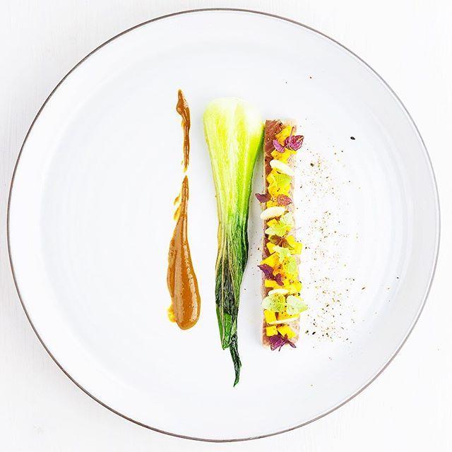 Geräucherter Aal, Mango-Salsa, Pak-Choi, Miso-Crème, Togarashi. #foodblogger #foodie #makeitnice #plating #yummy #buzzfeedfood #aal #fisch #mango #salsa #f52food #foodgasm #foodgasm_de #foodgawker #highfoodality