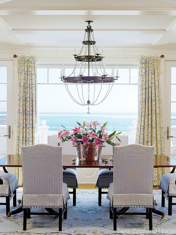 gorgeous space and that veiw is stunning!: Dining Rooms, Beautiful Dining, Beach Houses, Dining Spaces, Dinning Rooms, Room Design, Ocean View, New England Homes