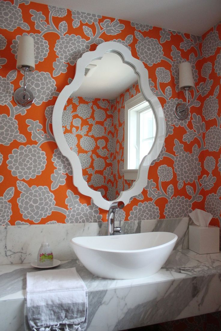 Bold powder room wallpaper molly frey design molly frey for Funky bathroom wallpaper ideas