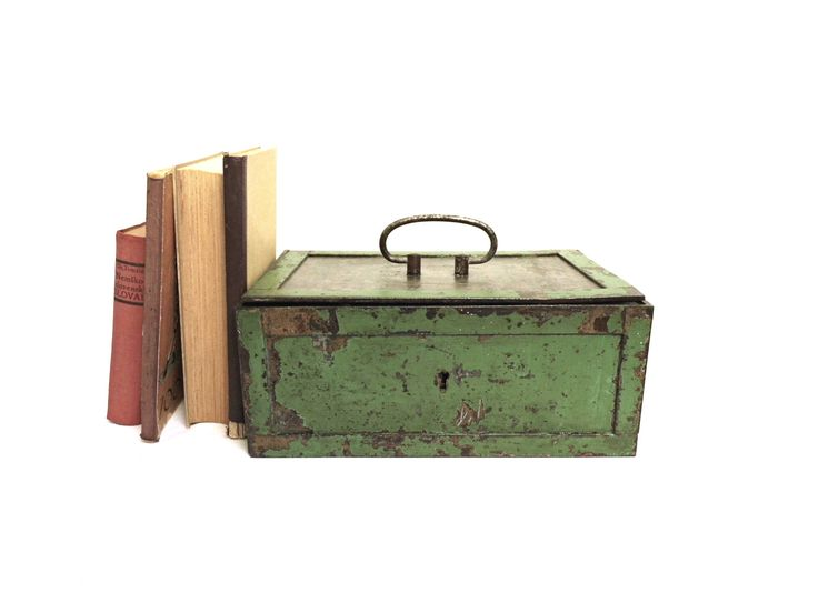 Vintage Metal Money Cash Coin Box Antique Large Green Blue Distressed Rusty Steel Trunk Piggy Bank Lidded Industrial Office Storage Shabby by WoodHistory on Etsy