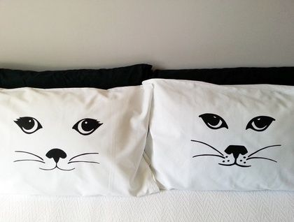 Handprinted Pillowcases - His and Her's Cats by Sandra Waine