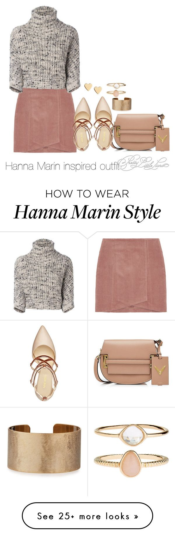 """Hanna Marin inspired outfit/PLL"" by tvdsarahmichele on Polyvore featuring Brunello Cucinelli, Valentino, Nine West, Lipsy, Panacea and Accessorize"