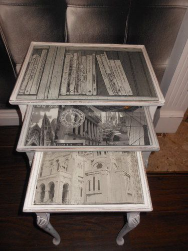 REFURBISHED NEST OF TABLES ANNIE SLOAN WHITE & GREY PAINT GLASS TOP SHABBY CHIC   eBay