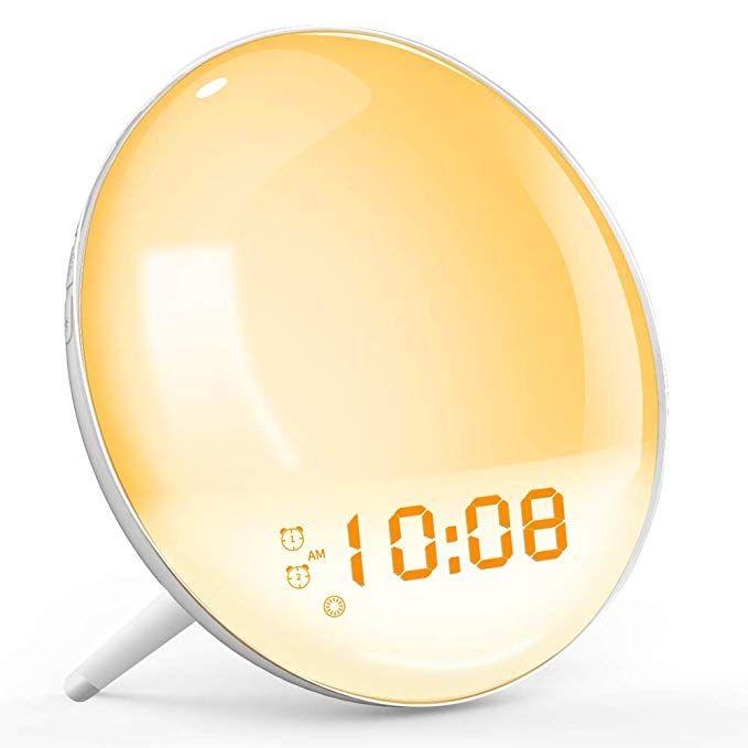 Wake Up Light Sunrise Simulation Alarm Clock Sleep Aid Colored Bedside Light With Fm Radio Dual Alarm Diy Makeup Drawer Dividers Alarm Clock Bedside Lighting