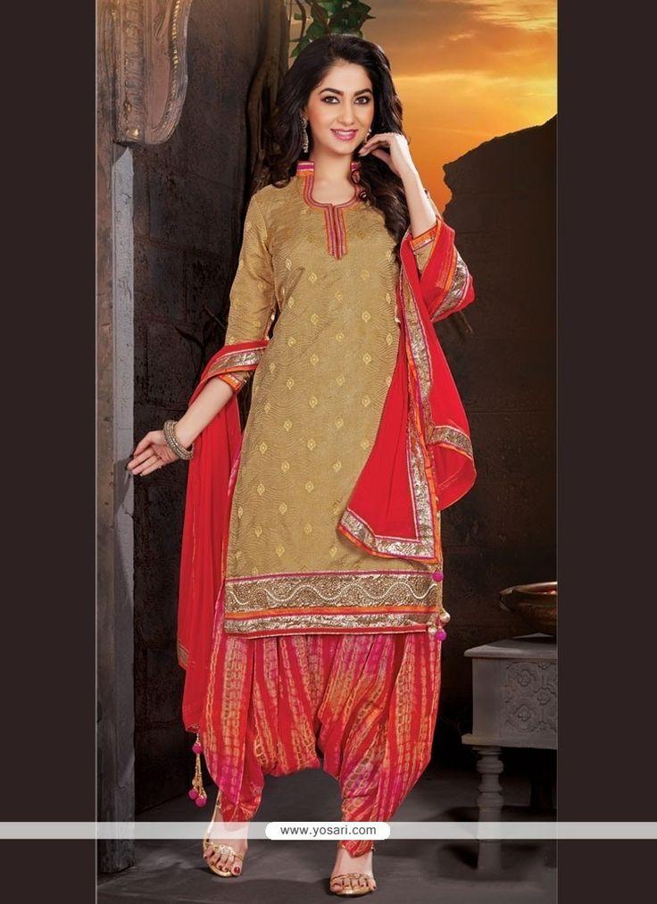 Prodigious Lace Work Beige Jacquard Punjabi Suit