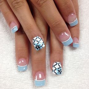 Best 25 instagram nails ideas on pinterest coffin acrylic nails blue french manicure nail art design with accent ring finger for summer prinsesfo Gallery