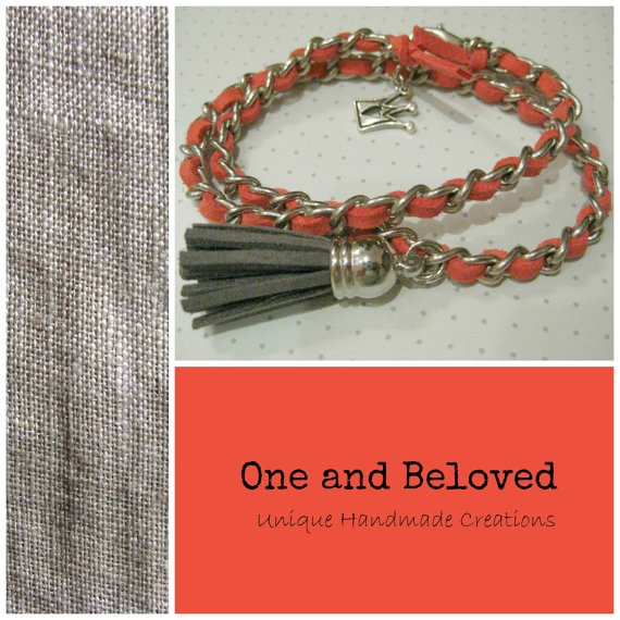 Unique Handmade Somon suede in chain Bracelet by OneandBeloved, €8.00