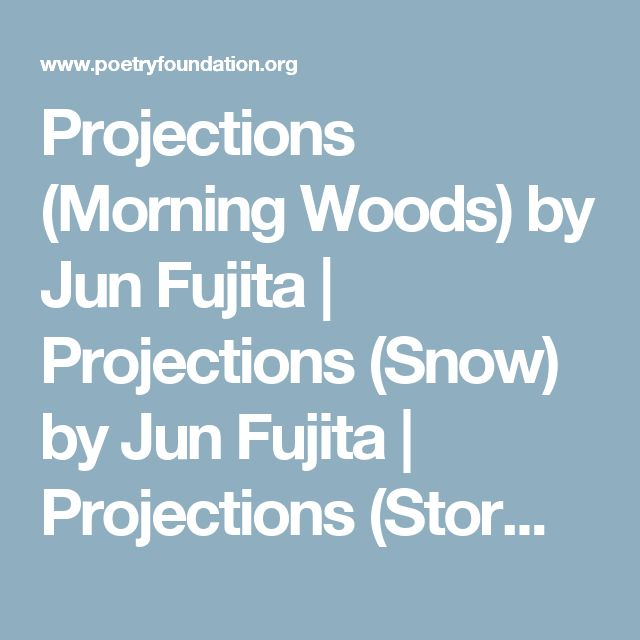 Projections (Morning Woods) by Jun Fujita | Projections (Snow) by Jun Fujita | Projections (Storm) by Jun Fujita | Projections (Dried Whispers) by Jun Fujita | Poetry Magazine