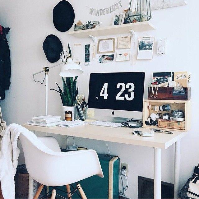 desk with open shelves