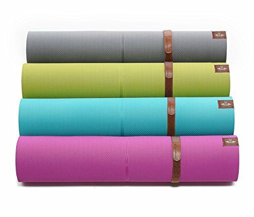 PREMIUM TPE YOGA MAT by Heathyoga: High Density Light Weight Non Slip Eco-Friendly, Unique Auxiliary Line Design,