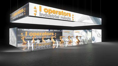296 Industrieroboter l operators   | Auffälliger Messestand für ein Hersteller von Industrierobotern.   Der bedruckte und hinterleuchtete Deckenring ist ein echter Hingucker und macht d...