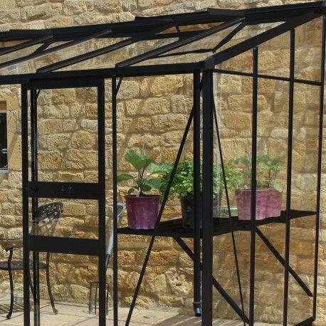Serre de jardin adossée 7,24m² en verre trempé BROADWAY noire - Eden Greenhouses