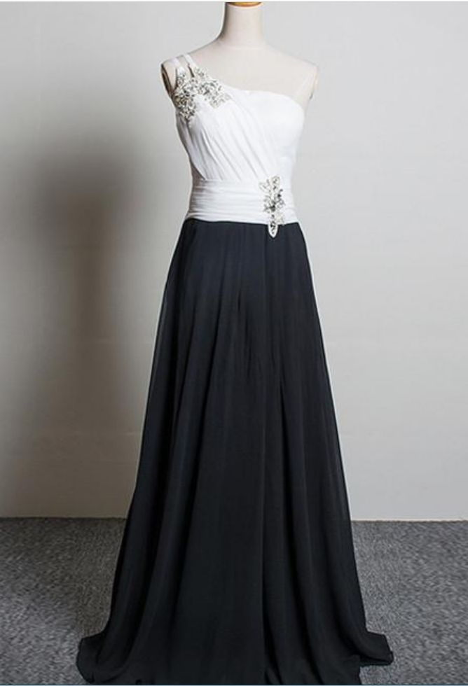 Elegant White Black One Shoulder Chiffon Evening Dresses Long Free Shipping Crystals Beaded Prom Dress Vestidos