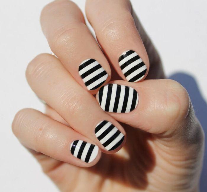 nagellack ideen zebra schwarz weiß