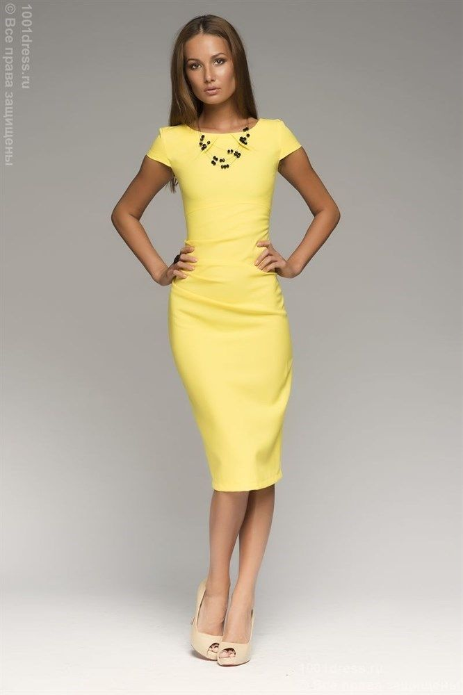 Платье-футляр желтое - фото 5747