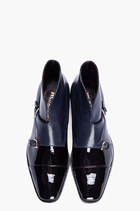 JIL SANDER Black & Navy patent leather monk boots