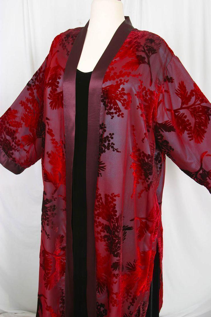 30d6ad2cbb0 Plus Size Special Occasion Kimono Jacket Red Burgundy Teal Silk Velvet  Burnout Size 18 20 SHOP NOW  Unique jackets for women Sizes 14 - 36