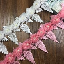 H028 chiffon Soluble Polyester Lace Trim Knitting Wedding Embroidered Diy Handmade Patchwork Ribbon Sewing Supplies Crafts 91cm(China)