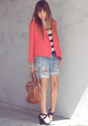 Striped T and a coral blazer; great outfit idea for my new blazer!