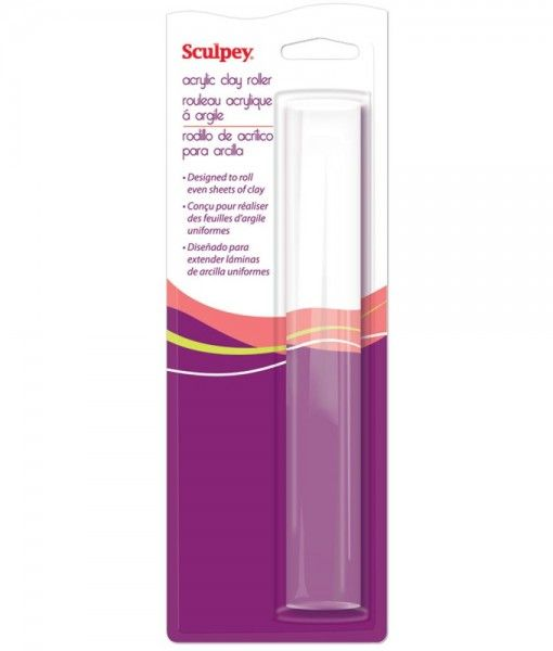 Sculpey Seamless Acrylic Roller smoothes polymer clay sheets without leaving roller marks. 8″ width is perfect for rolling large sheets of polymer clay. Clear material will not block vision of clay piece below and has a non-stick wipe clean surface. Buy online form 2wards Polymer Clay.