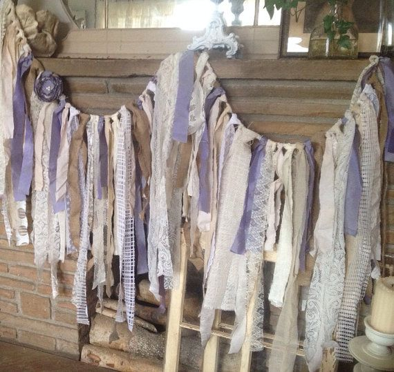 6 ft Burlap and Lace Wedding Garland, Lavender Rustic Wedding Decor, Vintage Wedding Decor