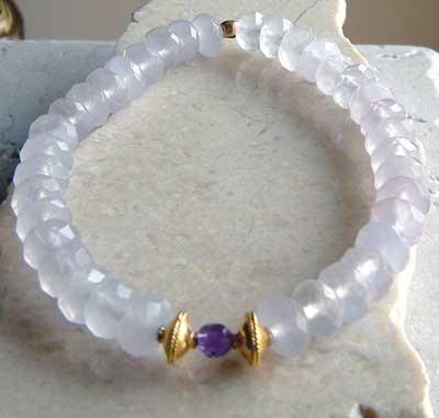 Faceted pale lavender Fluorite & Amethyst bracelet yellow gold