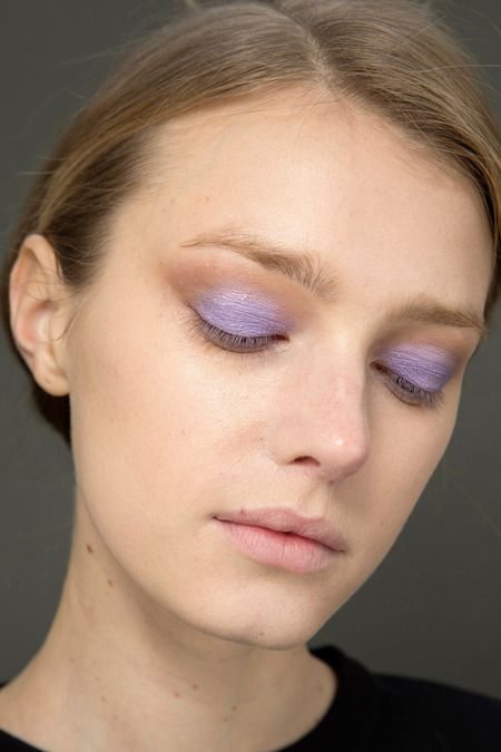 The Best Beauty Looks at Fashion Week F/W 2014 | Purple eye shadow, nude lip