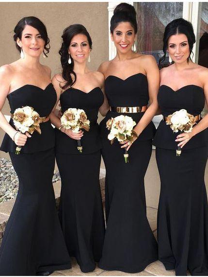 Strapless Black Mermaid Long Bridesmaid Dress with Gold Sash