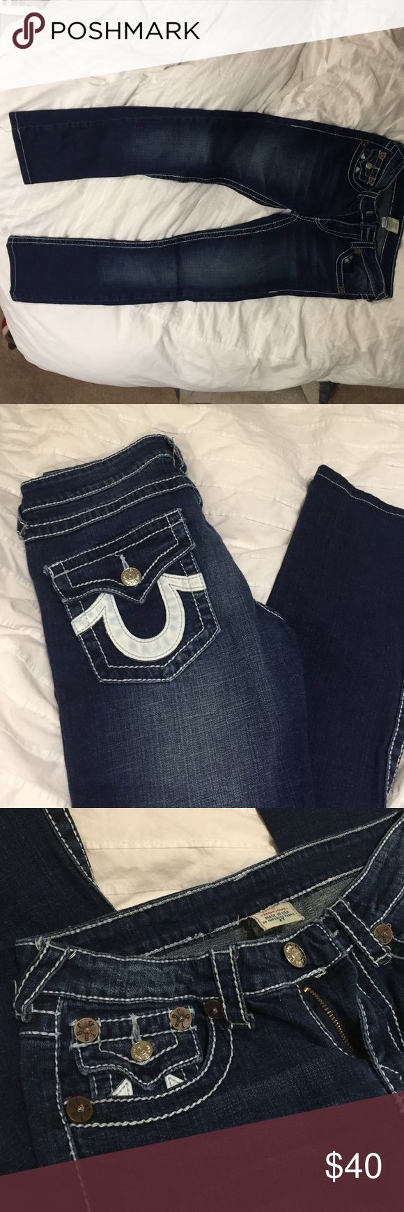 True Religion Women's Jeans authentic Size 27 - but fits more like 25-26. Runs small. I've worn it a few times and selling because they don't fit me anymore. Great condition. True Religion Pants Straight Leg