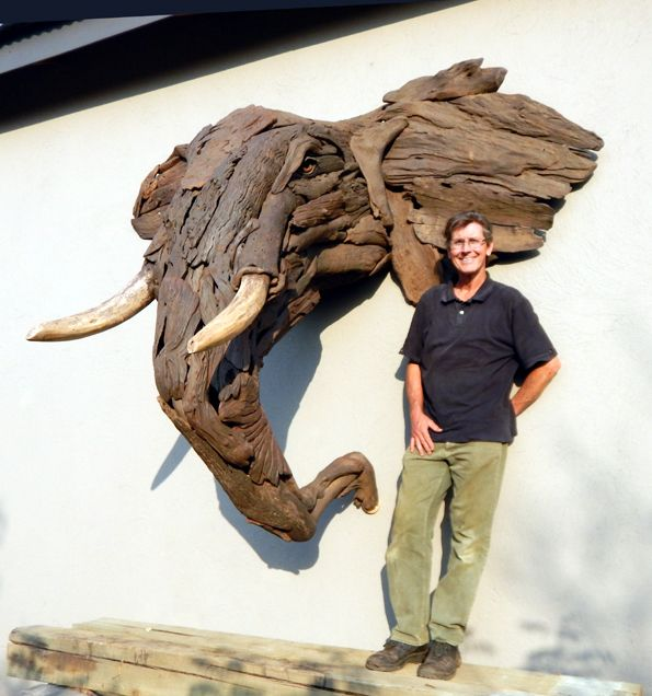 A Life-size Elephant made with driftwood by Tony Fredriksson