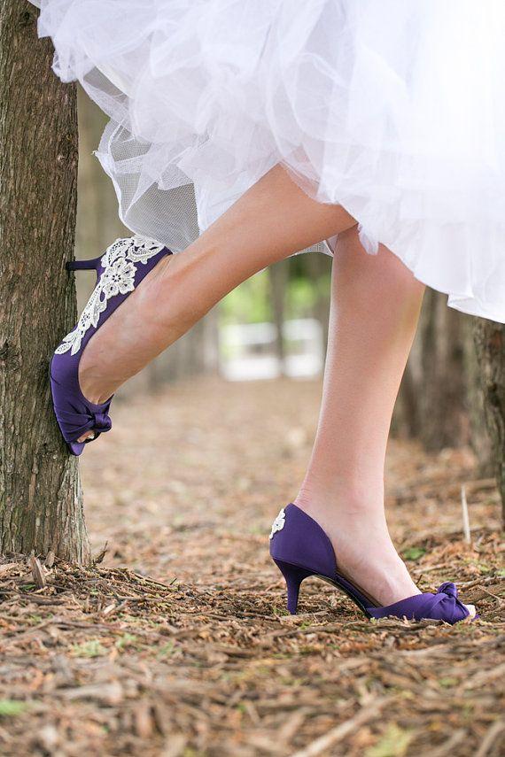 Wedding Shoes Low Purple Heels Purple Wedding by walkinonair
